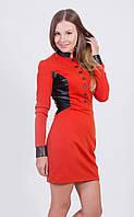 Платье женское с кожаными вставками терракот
