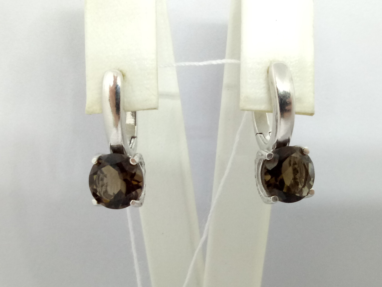 Серебряные серьги Адриатика с дымчатым кварцем. Артикул 2936/9Р-QSMK