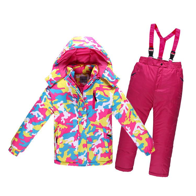 Детский лыжный костюм - Розовый милитари