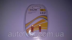 SOLAR Автолампа LED 12V T5 W2x4.6d 1leds red подсветка салона (2 шт)
