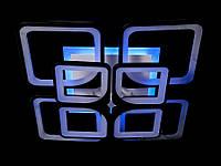 Светодиодная люстра с пультом и синей подсветкой черная 8060-4+4, фото 1