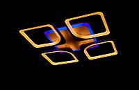 Светодиодная люстра с пультом и синей подсветкой белая 8060-4, фото 1