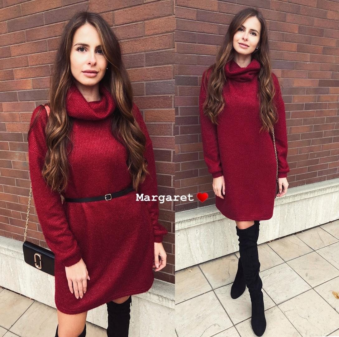 Платье зимнее свободное с горлом с люрексом теплое свободное