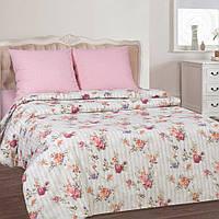 """Комплект постельного белья """"Розовое вдохновение"""" поплин (Простыня на резинке), Евро"""