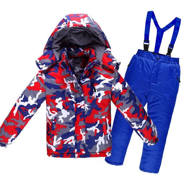 Детский лыжный костюм - Красно-синий