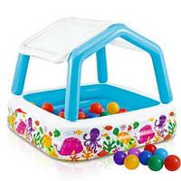 """Детский надувной бассейн  """"Аквариум"""" со съемным навесом  и шариками."""