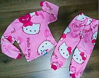 Детская пижама для девочки из велсофта розового цвета с принтом Hello Kitty 28-40 р