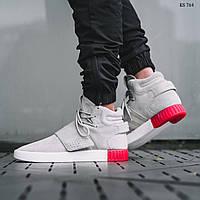 Зимние кроссовки на меху Adidas Tubular Invader Strap (серо красные) 631355a0a36b1
