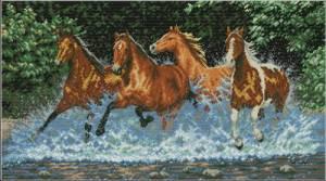 Лошади D224 Набор для вышивки крестом  канва 14ст