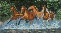 Лошади Набор для вышивки крестом  канва 14ст