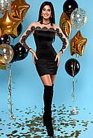 Облегающее Короткое Платье с Верхом из Сетки и Кружева Черное S-XL, фото 1