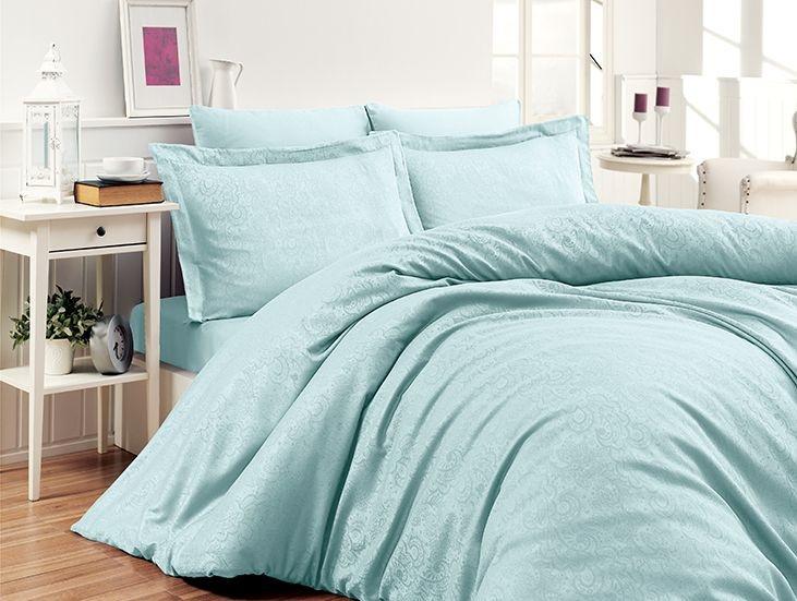 Комплект постельного белья First Choice Сатин Жаккард 200х220 Sare Mint