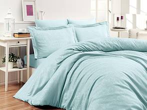 Комплект постельного белья First Choice Сатин Жаккард 200х220 Sare Mint, фото 2