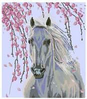 Белая лошадь   Набор для вышивки крестом канва 14ст