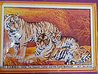 Семья тигров   Набор для вышивки крестом канва 14ст