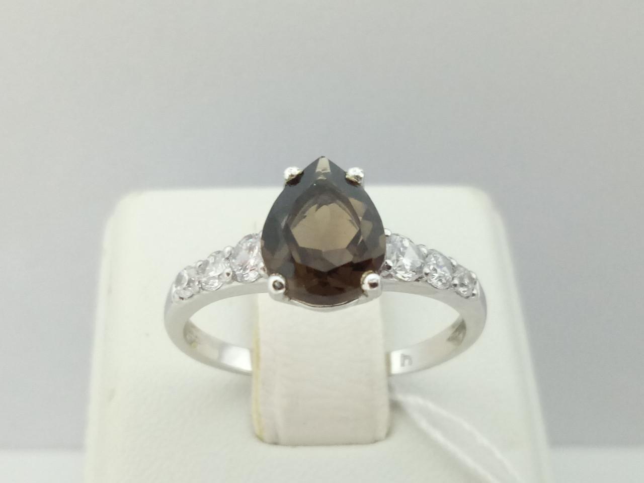 Серебряное кольцо Элизабет с дымчатым кварцем и фианитами. Артикул 1320/1Р-QSMK 17,5