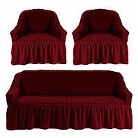 Комплект чехлов для мягкой мебели: диван и два кресла / бордо (23)