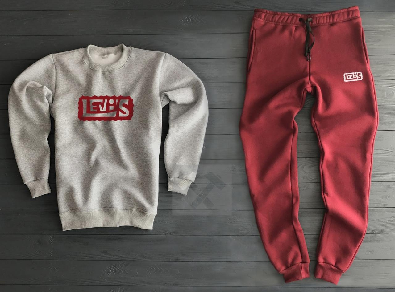Спортивный костюм Levi's cеро-красный топ реплика