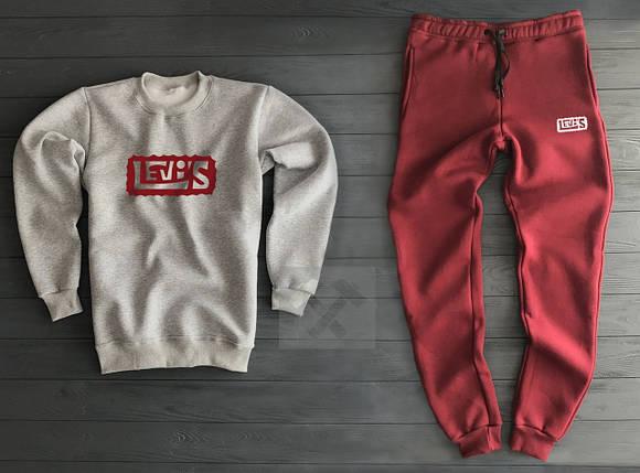 Спортивный костюм Levi's cеро-красный топ реплика, фото 2