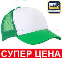 Кепка Тракер Унисекс Цвет Белый/Ярко-зелёный MB070-WFG