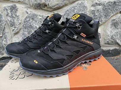 Мужские кожаные зимние ботинки Salomon, черные