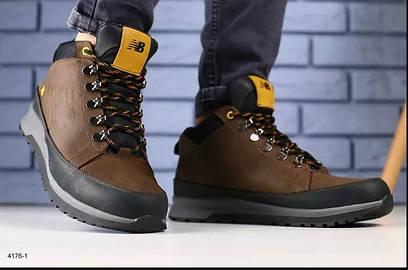 Мужские кожаные зимние ботинки  New Balance , коричневые