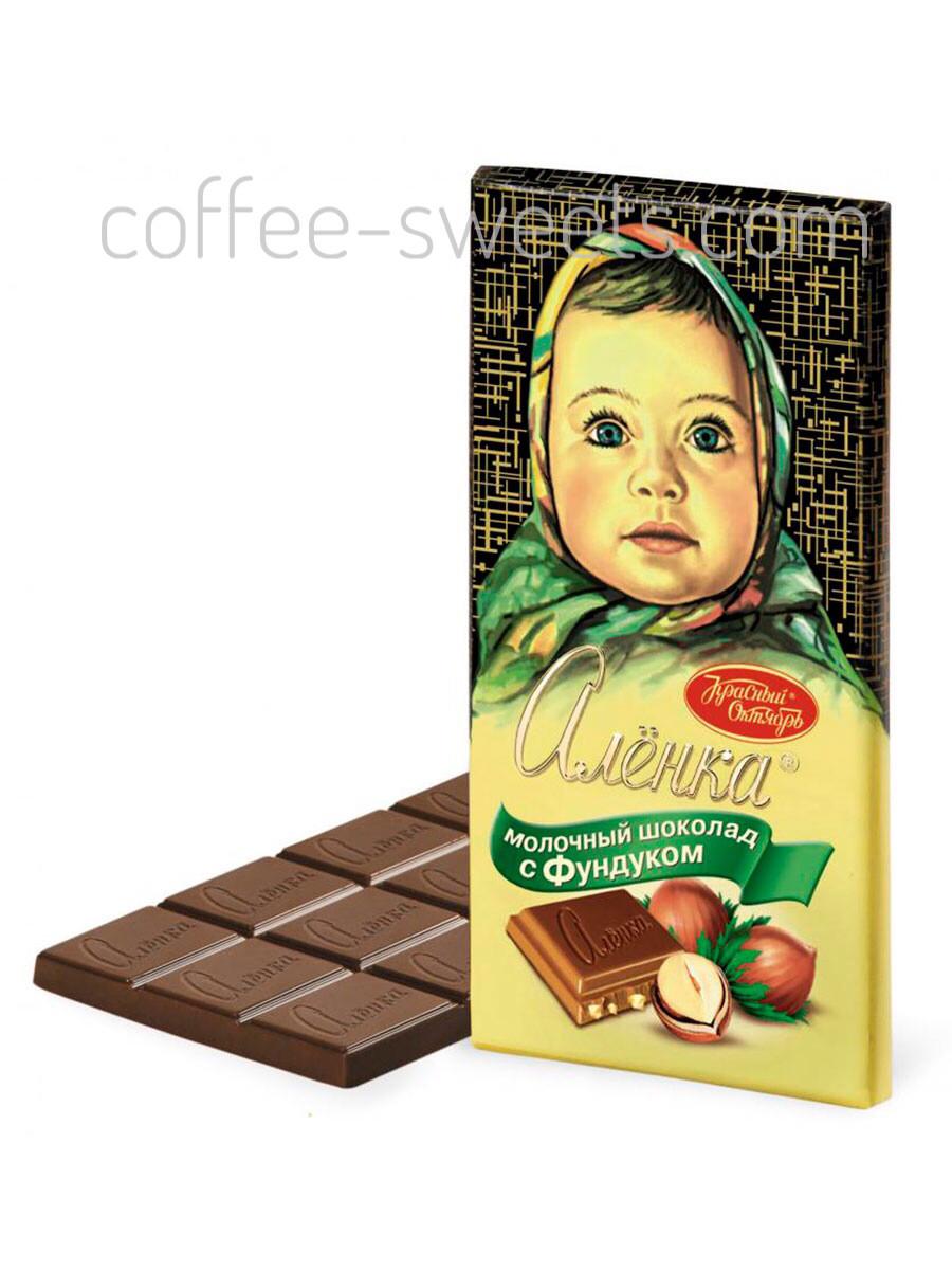 Шоколад Алёнка 200г с Фундуком молочный Красный Октябрь