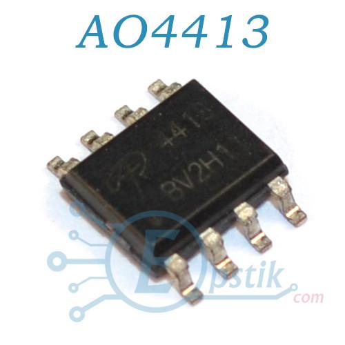 AO4413, mosfet транзистор P channel, 30В 15А, SOP8