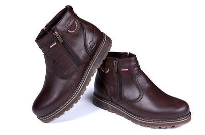 Зимние мужские ботинки коричневые из натуральной кожи на меху в стиле Kristan 40 41 42 43 44 45