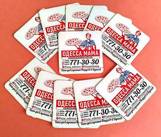 Рекламные магнитики для пиццерии. Размер 55х55 мм 2
