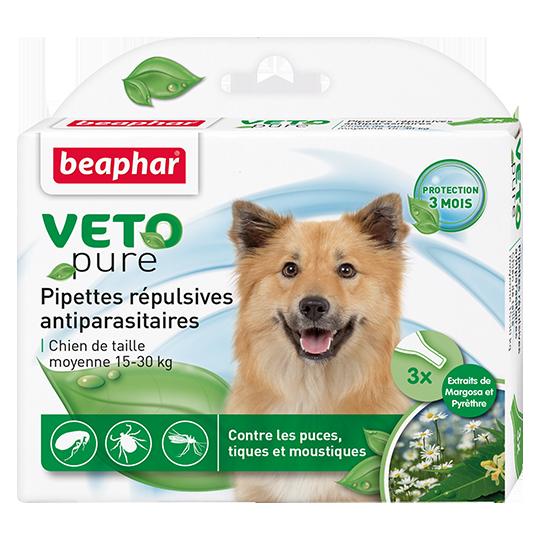 Beaphar Биокапли VETO pure от паразитов для собак средних пород(15 -30 кг) 3 пипетки