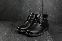Ботинки мужские зимние Clarks на меху кожаные классика стильные удобные  (черные), ТОП-реплика