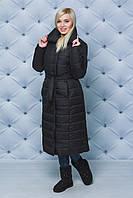Длинное зимнее пальто черное