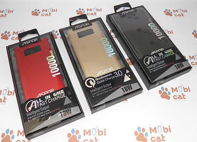 Внешний аккумулятор (Power Bank) Qualcomm Quick Charge 3.0 Power bank Aspor Q388 10000mAh