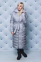 Длинное зимнее пальто серое