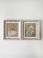 Иконы на венчание с белой рамкой и позолотой