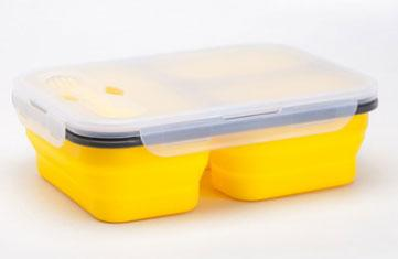 Ланчбокс силиконовый складной тройной (жёлтый)
