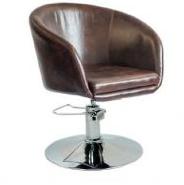 Кресло Мурат НЬЮ, мягкое сиденье, хром, цвет темно-коричневый, ручной газлифт