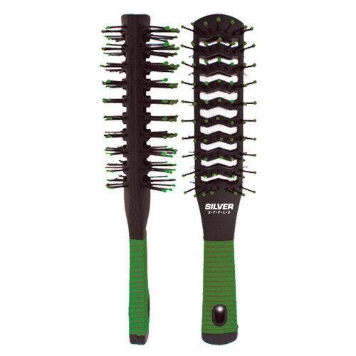 Расческа продувная массажная для сушки волос зеленая «Silver Style» 21*3см PM-8519G