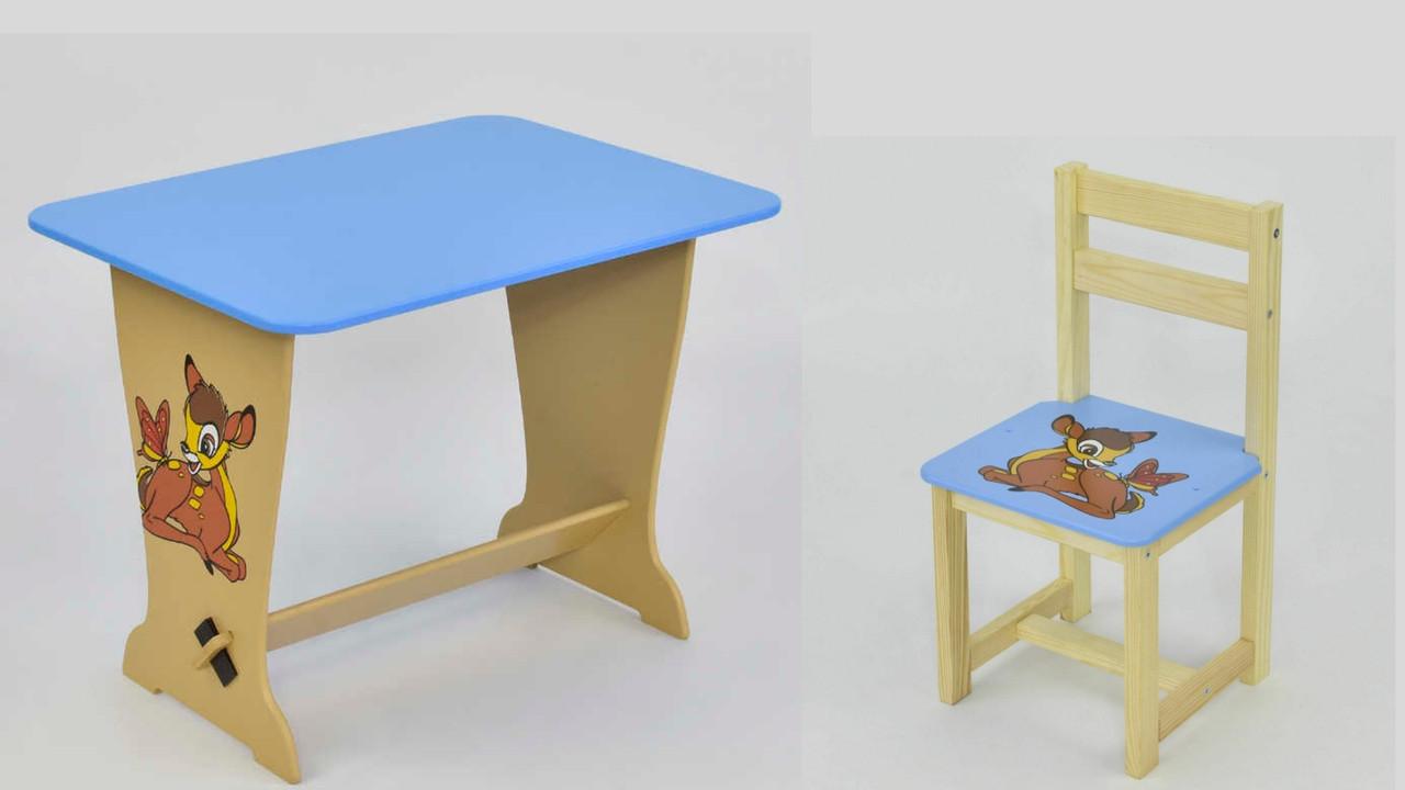 Набор детской мебели стол - парта и стульчик голубой Олененок Бэмби