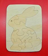 Деревянный пазл кролик 25*19
