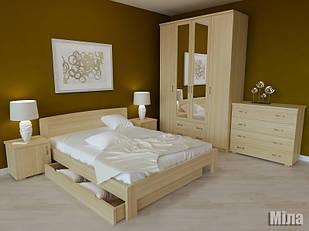 Ліжко двоспальне з натурального дерева в спальню Міла Орбіта
