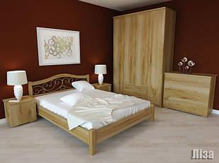 Ліжко двоспальне з натурального дерева в спальню Ліза (коване) Орбіта