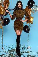 Свободное Воздушное Платье Короткое Шифоновое с Бахромой Хаки S-XL, фото 1