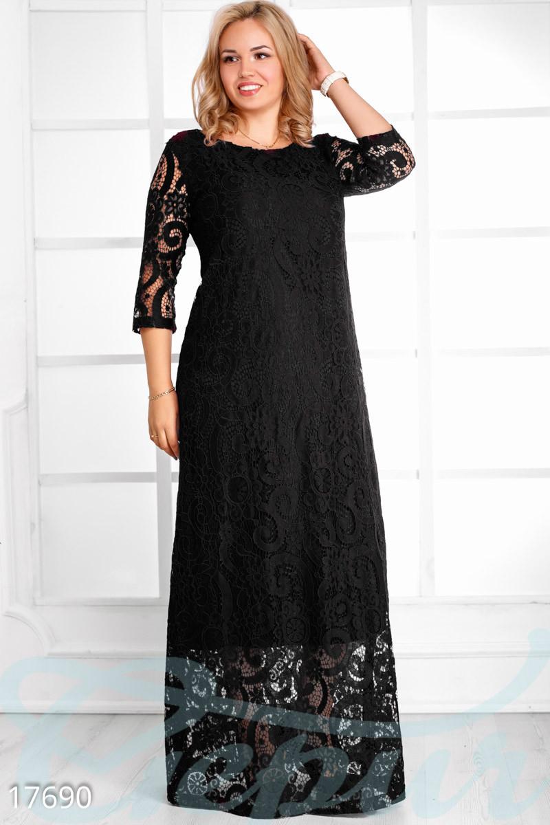 Длинное гипюровое платье