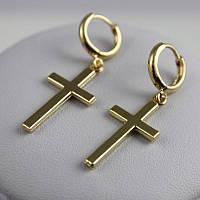 Золотистые серьги в виде крестов
