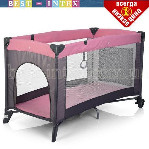 Манеж детский ME 1016-8-11 SAFE Розовый с серым