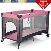 Манеж детский ME 1016-8-11 SAFE Розовый с серым, фото 1