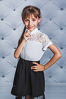 Блуза трикотажная школьная для девочки белая