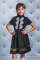 Трикотажная блуза с кружевом для девочки синяя